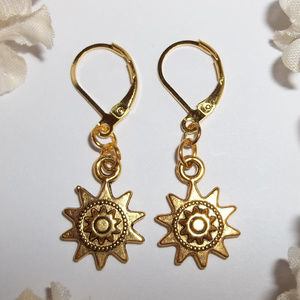 Earring Gold Sunburst Everyday Casual Jewleyr Set
